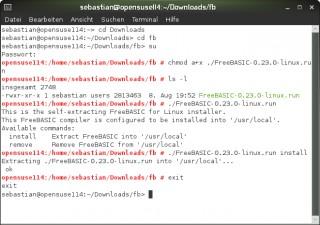 Abgeschlossene Installation unter Linux