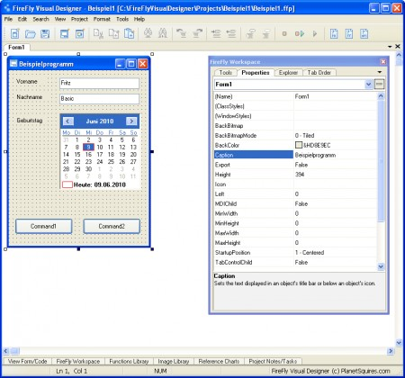 Screenshot FireFly Visual Designer für FreeBASIC