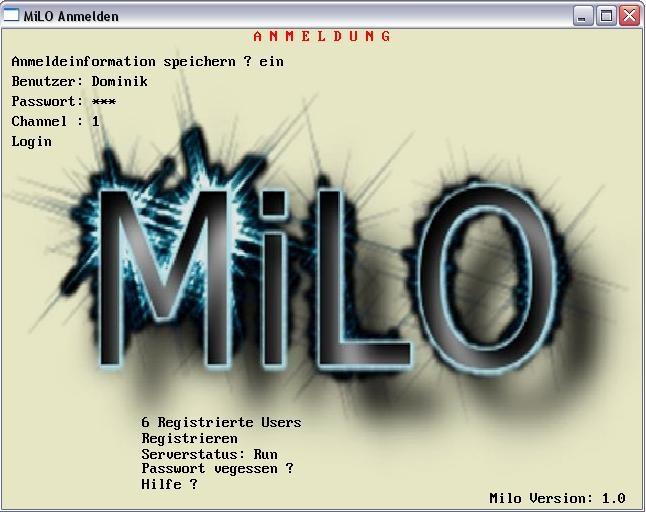 So sieht die anmelde Seite von MiLO aus