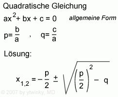 Formeln zur quadratischen Gleichung