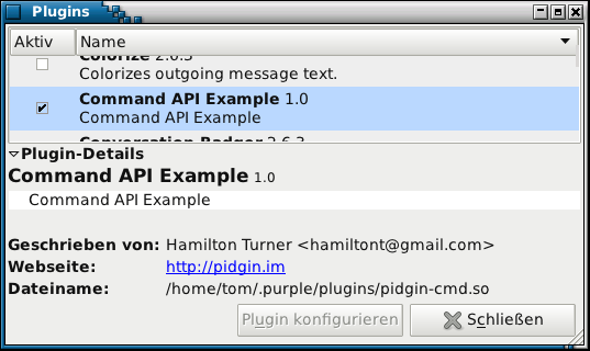 command plugin for Pidgin (libpurple) - freebasic net