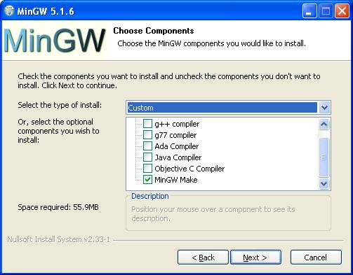 MinGW Installation - Komponentenauswahl