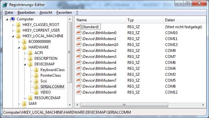 SERIALCOMM-Registrierungsschlüssel